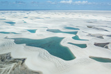 An Aerial Shot of Brazil's Lencois Maranhenses Sand Dunes and Lagoons