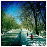 Kids Cross Country Skiing on the C&O Canal Towpath and the Potomac River on the Right