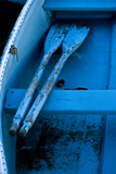 Oars Resting on a Thwart in an Old Blue Rowboat