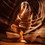 Sandstone Walls of a Slot Canyon Eroded by Flash Floods Carrying Abrasive Sand Particles