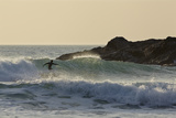 Surfing in Constantine Bay  Near Padstow  on the Atlantic Coast of Cornwall