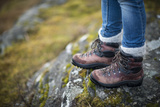 Close Up of Leather Trekking Boots in the Cairngorms National Park in Scotland