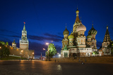 Spasskaya Tower  also Called Savior's Tower  and Saint Basil's Cathedral at Night