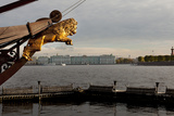 A Lion Bowsprit on a Boat in the Neva River the Hermitage in Distance