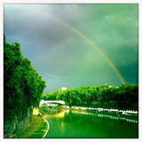 A Rainbow over the Tiber River  Rome  Italy
