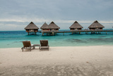 Lounge Chairs at a Beachfront Resort on Bora Bora  Tahiti