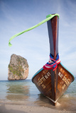 A Long Tail Boat and a Limestone Karst in Krabi  Thailand