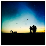 Kites and People on Jockey Ridge Dune at Dusk