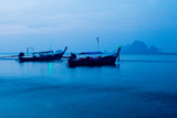 Long Tail Boats at Sunrise in Krabi  Thailand