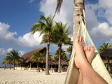Relaxing in a Hammock on the Beach in Cozumel