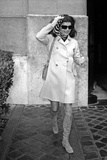 Jackie Kennedy Onassis (Nina Ricci Sunglasses  Gucci Bag) Leaving Crillon Hotel  Paris  1970