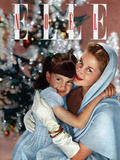 Cover of French Magazine Elle December  1948: a Mother with Her Daughter in Front of Christmas Tree