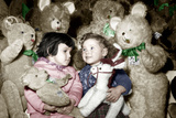 Christmas Toys Department December 3  1952: Children and Stuffed Animal Colorized Document