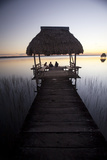 People Relaxing at Sunset  Lago Peten Itza  El Remate  Guatemala  Central America