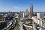 Elevated View over Interstate 85 Passing the Midtown Atlanta Skyline