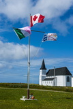 Flag Pole in Front of a Church in Flower Cove  Newfoundland  Canada  North America