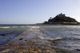 The Old Stone Causeway Leading to St Michaels Mount Submerged by the Incoming Tide