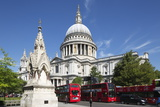 Red London Buses and St Paul's Cathedral  London  England  United Kingdom  Europe