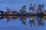 View over River Thames to Canary Wharf  Docklands  London  England  United Kingdom  Europe