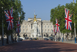 Buckingham Palace Down the Mall with Union Jack Flags  London  England  United Kingdom  Europe