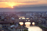 Sunset View over Florence and the Ponte Vecchio from Piazza Michelangelo