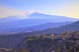 View from Greek Theatre to Taormina with Mount Etna in Background  Taormina  Sicily  Italy  Europe