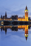 Big Ben and the Houses of Parliamentand Westminster Bridge Reflected in the River Thames