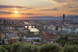 Sunset View over Florence with the Ponte Vecchio and Palazzo Vecchio from Piazza Michelangelo