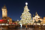 Christmas Market at Old Town Square with Gothic Old Town Hall