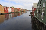 Colourful Wooden Warehouses on Wharves Beside the Nidelva River