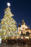 Old Town Square Christmas Market with Christmas Tree