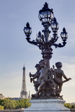 Statues on Pont Alexandre Iii with the Eiffel Tower in the Background  Paris  France  Europe
