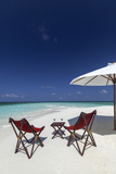 Martini and Chairs on the Beach  Maldives  Indian Ocean  Asia