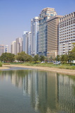City Center Buildings Reflecting in Corniche Lake  Abu Dhabi  United Arab Emirates  Middle East
