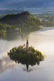 Lake Bled Island and Bled Castle at Sunrise  Julian Alps  Gorenjska  Slovenia  Europe