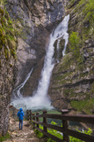 Tourist at Savica Waterfall Near Lake Bohinj  Triglav National Park  Julian Alps  Slovenia  Europe