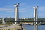 Flaubert Bridge and Rouen Skyline