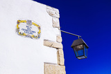 Traditional Local Street Sign and Street Lamp  Old Town  Albufeira  Algarve  Portugal  Europe