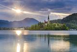 Lake Bled at Sunrise with the Church on Lake Bled Island  Gorenjska Region  Slovenia  Europe