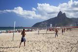 People Playing Tennis on Ipanema Beach at Dawn  Rio De Janeiro  Brazil  South America