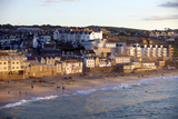 Overlooking Porthmeor Beach in St Ives at Sunset  Cornwall  England  United Kingdom  Europe