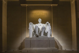 Interior of the Lincoln Memorial Lit Up at Night