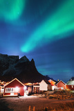 Aurora Borealis (Northern Lights)  Reine  Moskenesoy  Lofoten Islands  Norway  Scandinavia  Europe