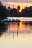 Boats by a Pontoon During Sunset at Bray Lake  Berkshire  England  United Kingdom  Europe