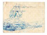 Blue Ship Reproduction d'art par Paula Mills