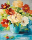 Flowers in Teal Vase