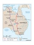 Map of Explorations of Australia
