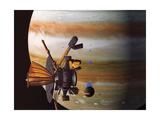 Galileo Orbiter with Jupiter