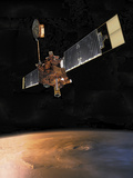 Mars Global Surveyor over Olympus Mons