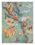 Map of Caribbean Islands - Bahama Islands - US Virgin Islands - Menu Cover Rum Drink List - Don t